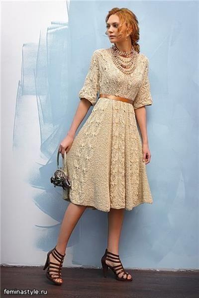 Платье в винтажном стиле вязать