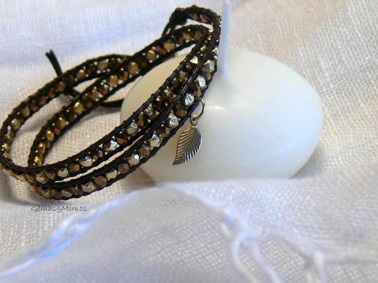 Cristal checo y baño de oro #jewelry #handmade #gemstones #joyeria #hechoamano #artesania #piedras #wraps #leather #cuero