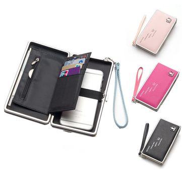 Universal Phone Cards Storage Bags PU Long Wallet Purse Handbag For Xiaomi Huawei Samsung iPhone 7