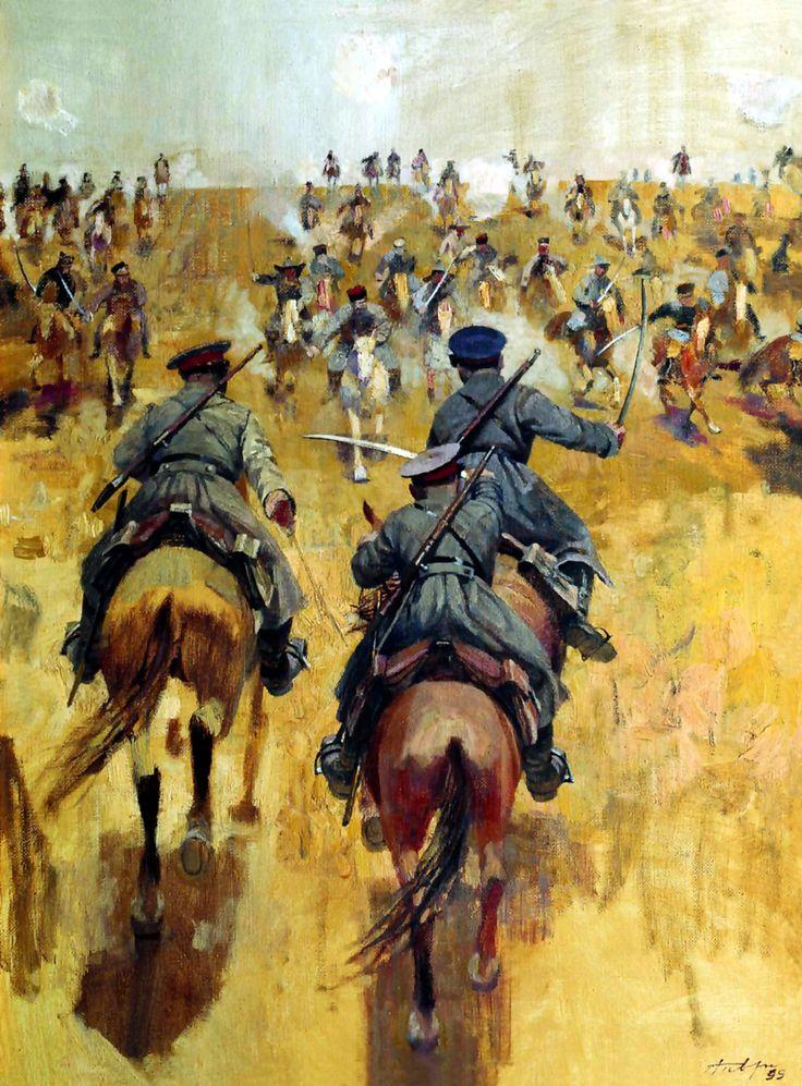 een gevecht uit de burger oorlog tussen rode leger (Bolsjewieken) en witte leger(Mensjewieken)