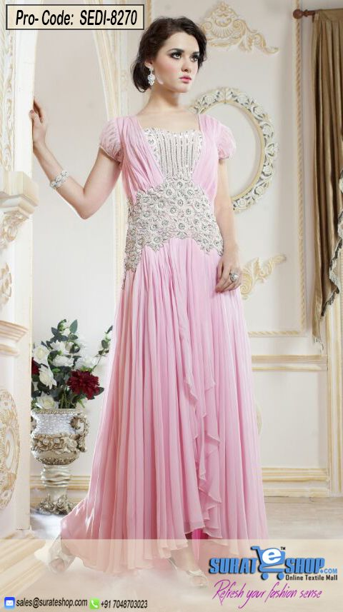 Appear Stunningly Desirable In This Rose Pink Faux Georgette Gown. The Butta Work, Resham, Stones Work Appears To Be Chic And Best For Any Party. Paired With A Matching   Visit: http://surateshop.com/product-details.php?cid=2_27_47&pid=11501&mid=0