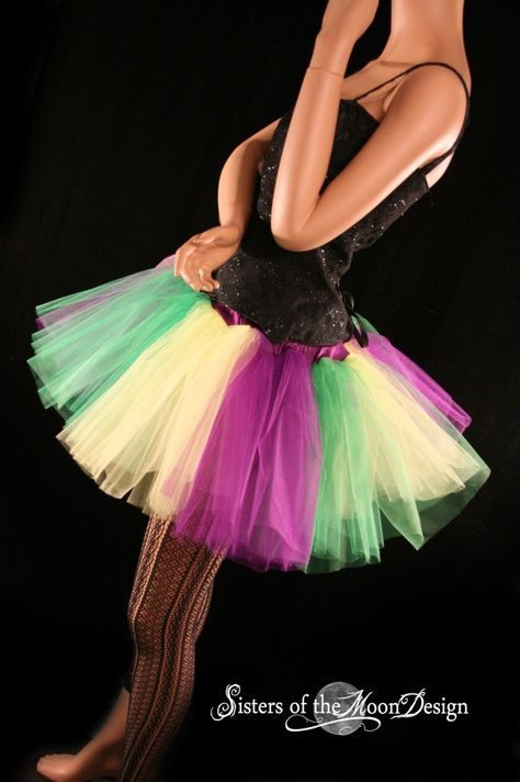 Mardi Gras Stripe Poofy Tutu Skirt Adult Green Purple Yellow You Choose Size