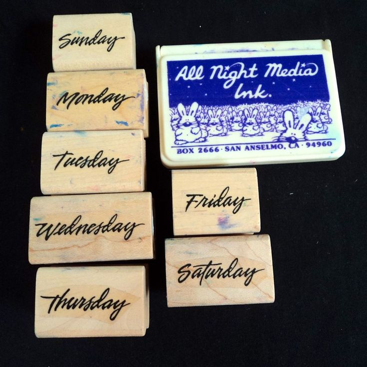 7 Days of the Week Stamp Lot w Purple Ink Pad Friday Saturday Sunday & more #AllNightMedia #Background