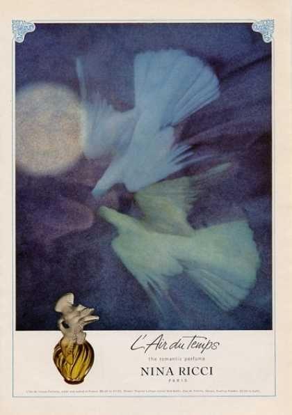 Le parfum des jeunes filles...qui ne m'allait pas du tout mais que j'adorais... Nina Ricci L'air Du Temps Perfume Doves (1965)