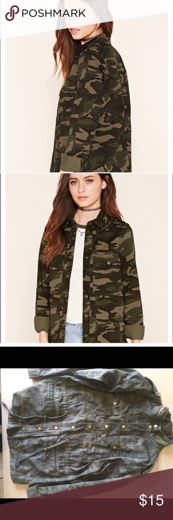 Forever 21 combat jacket Camouflage jacket forever 21 Forever 21 Jackets & Coats Jean Jackets