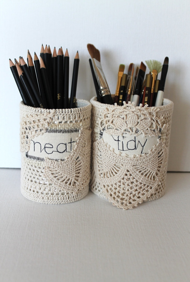 Tidy Shabby Office OrganizerKnitting Needles, Offices Spaces, Crochet ...