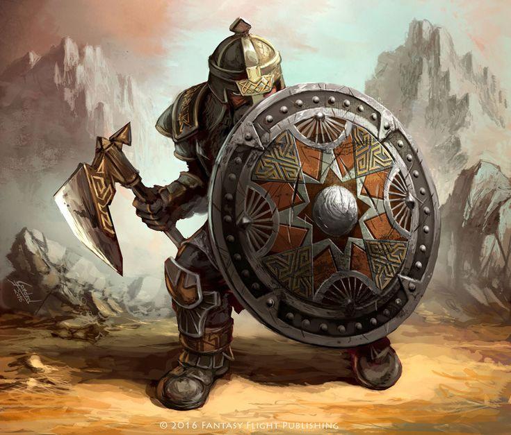 Anão guerreiro, armadura pesada, escudo metal redondo e machado de guerra
