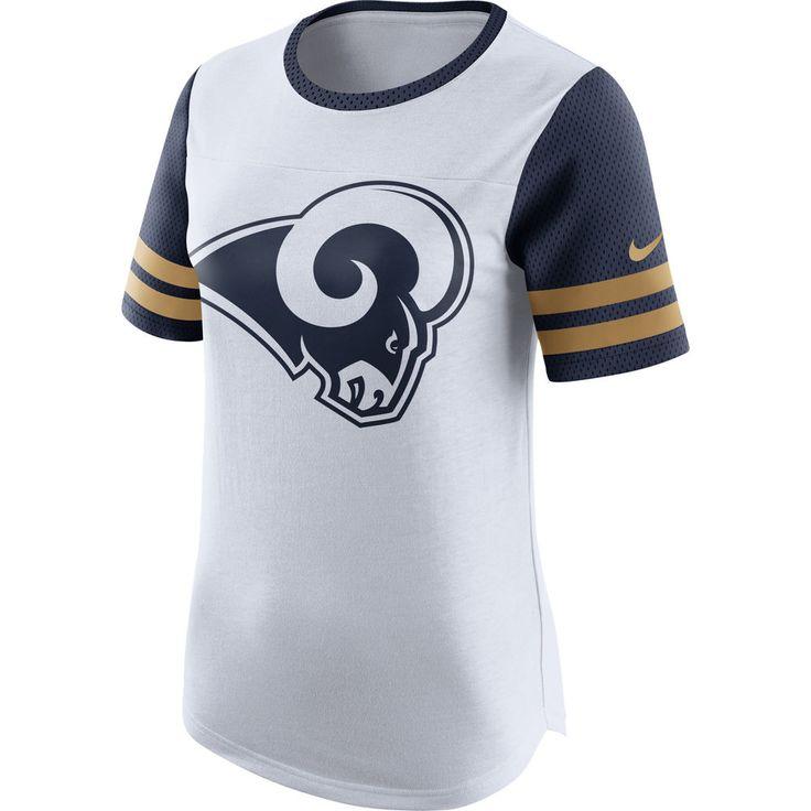 Women's Nike White Los Angeles Rams Gear Up Modern Fan Performance T-Shirt