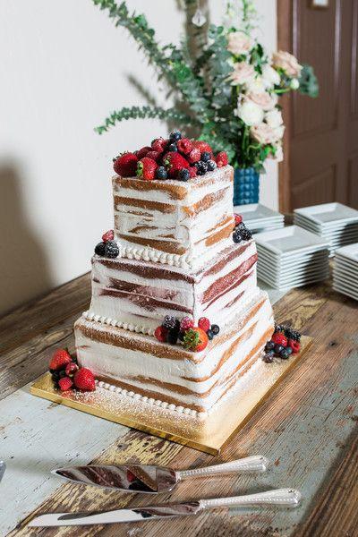 Semi-naked wedding cake idea – square, four-tier wedding cake with fresh berries…  – Wedding Cakes