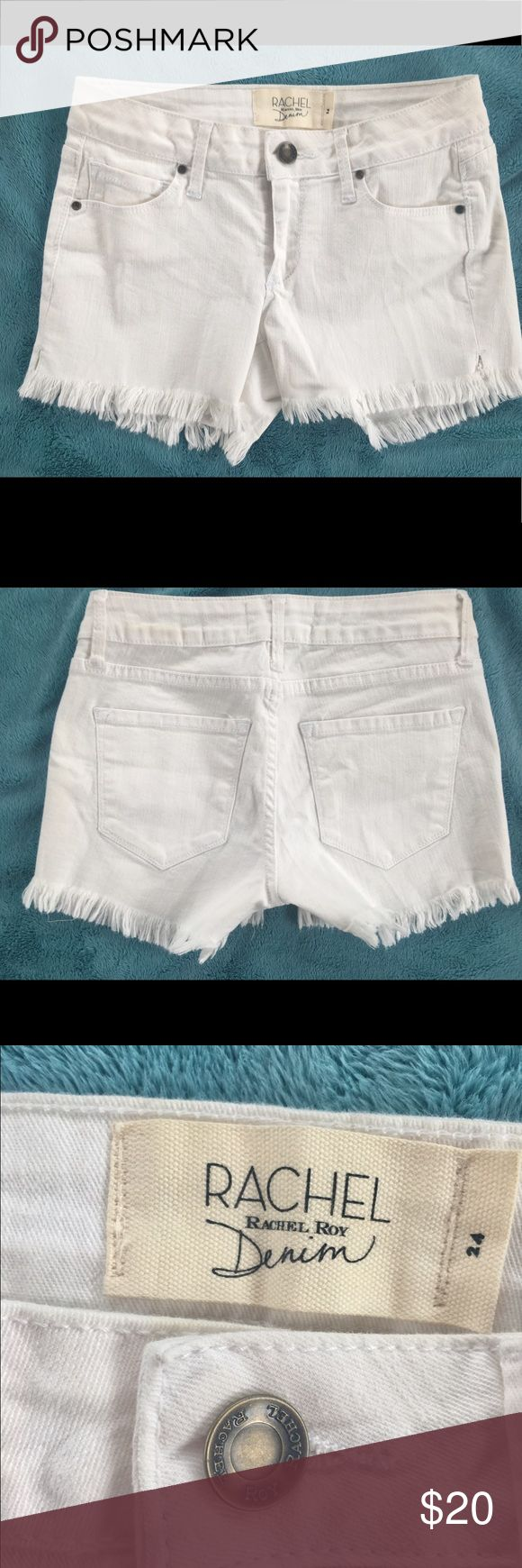 """Rachel Roy white denim shorts. Size 24"""" waist NEW! Rachel Zoe white denim shorts.  Juniors size 24"""" waist.  Frayed hem.  New without tags.  Never worn.   Clean, no stains, no holes.  From clean, smoke-free home. 🌺 RACHEL Rachel Roy Shorts Jean Shorts"""