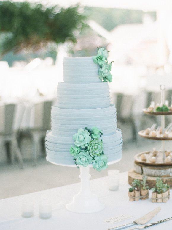 Blue and green wedding bouquet | Buffy Dekmar Photography
