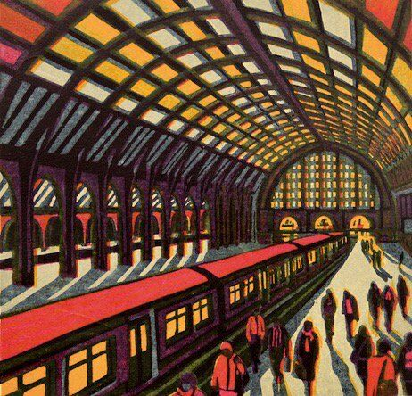 New Day Dawning (Kings Cross Stn) - one of Gail Brodholt's lovely linocuts, now on show at the 'Off The Wall' exhibition at Bankside Gallery.