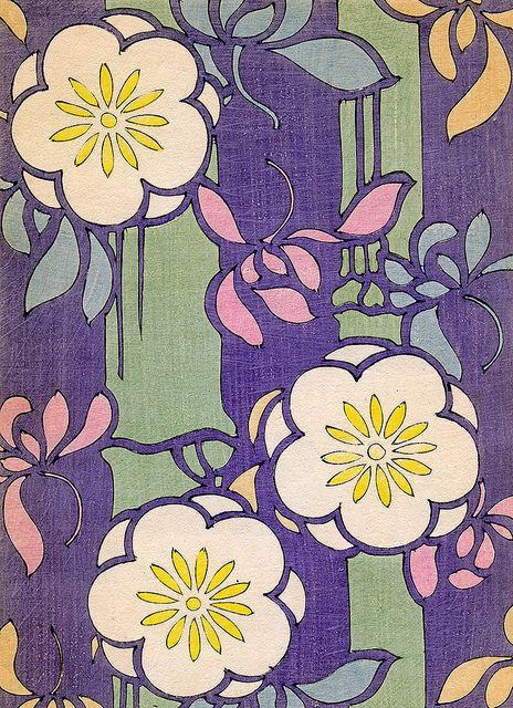 Kimono pattern with flowers, 1880s