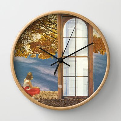 'adrift past the old horizons' wall clock - collage art by livingferal
