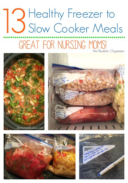 13 Healthy Freezer to Slow Cooker Meals {Great for New Moms!} - 13 easy freezer dump meals, healthy, and great for new and nursing mothers   the Realistic Organizer