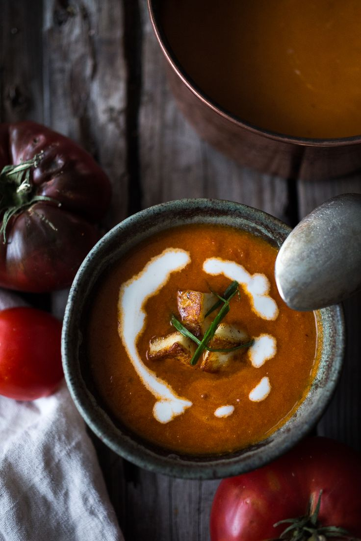 The last of summer tomatoes find their way into this velvety Roasted Tomato Soup with Haloumi Croutons, Yogurt and Sumac. Simple and delicious!