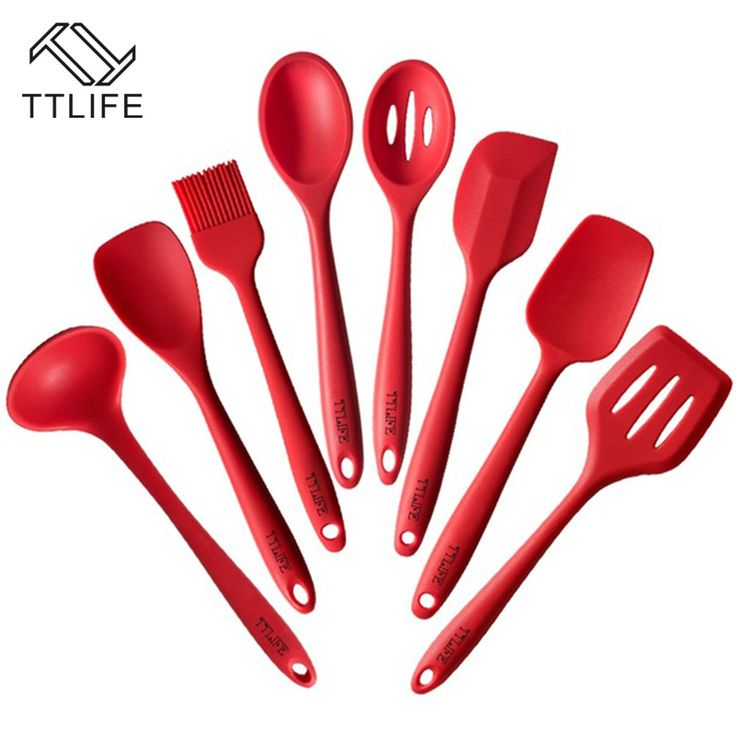 TTLIFE 2017 Newest 8 Pieces Silicone Cooking Tools Silicone Kitchen Utensils Set FDA Approved Silicone Utensil Set #Affiliate