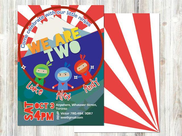 Triplets birthday invitation - Ninja - Fuji Mountain -Digital printable - japanese style- red and white - Sibling birthday - any age #NinjaBirthday #BirthdayInvitation #BoyAndGirl #BabyBirthday #TripletsBirthday #FujiMountain #Japanese #KidsBirthday #SiblingBirthday #Boys