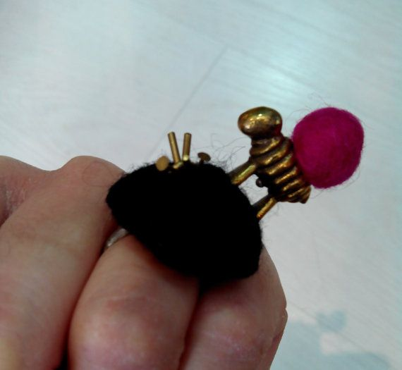 Fine silver ring, one size fits all, bronze sheep, felt wool