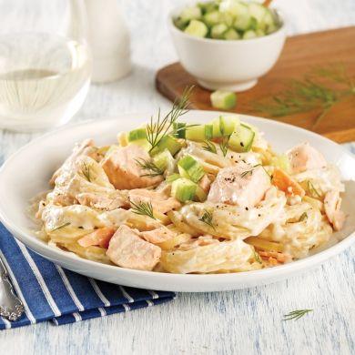 One pot de linguines au saumon, aneth et concombre - Recettes - Cuisine et nutrition - Pratico Pratique