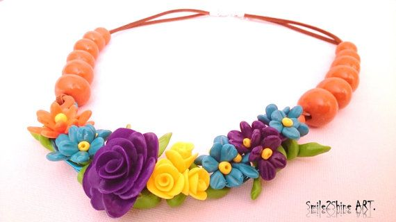 Polymer clay flower necklace Clay jewelry Bib by Smile2ShineArt
