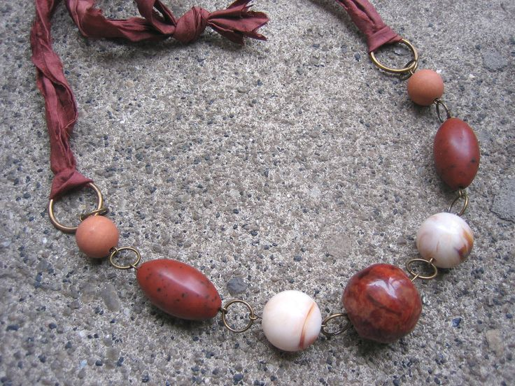 Things Are Bad, Send Chocolate Necklace $24.00 - handmade using soft, silk ribbon made from recycled saris and vintage beads in shades of beige and brown - eco-friendly, casual chic!