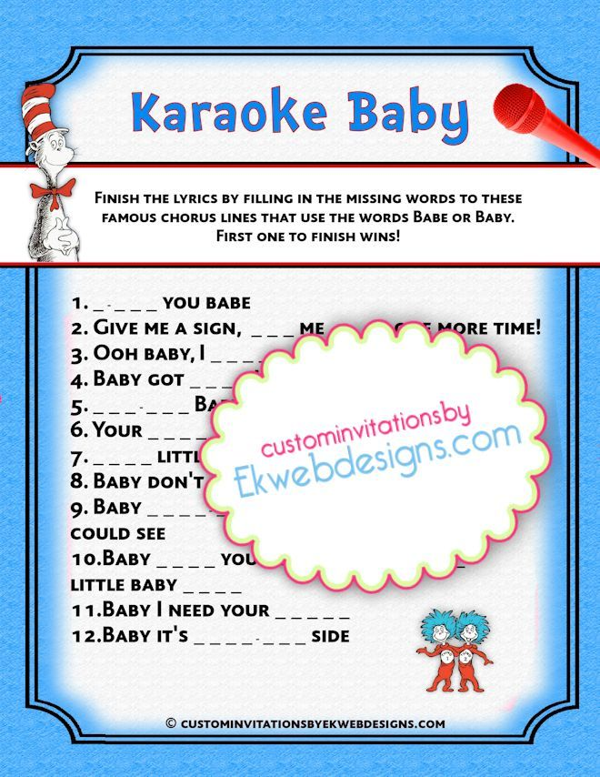 dr seuss baby shower baby shower games baby showers karaoke printable