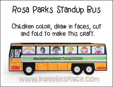 Rosa Parks Standup Bus Craft for Martin Luther King, Jr. Day from www.daniellesplace.com www.daniellesplace.com