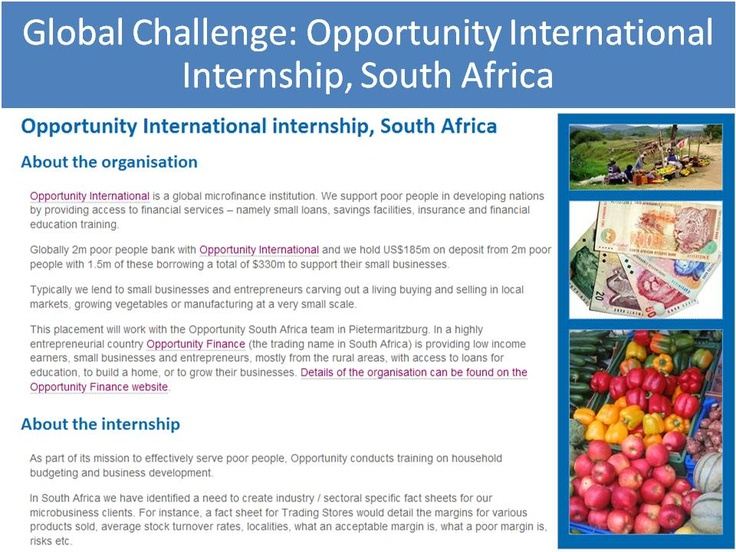 Global Challenge Opportunity International Internship