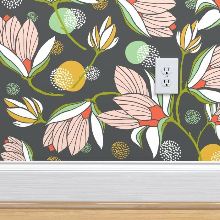 Bungalow Rose Zeno Floral Removable Wallpaper Panel Wayfair Modern Floral Wallpaper Peal And Stick Wallpaper Floral Wallpaper