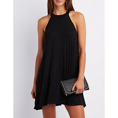 Black Mock Neck Shift Dress - Size L