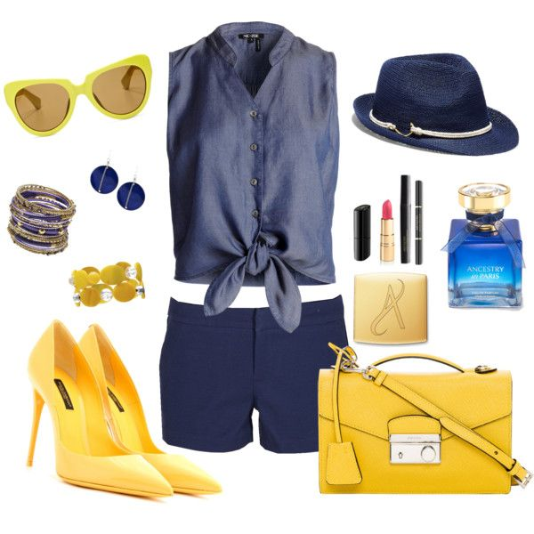 Navy & Yellow, Shorts & Fedora by veradediamant on Polyvore featuring polyvore, moda, style, NIC+ZOE, Joie, Dolce&Gabbana, Prada, Amrita Singh, Kenneth Cole, Mixit and Vince Camuto