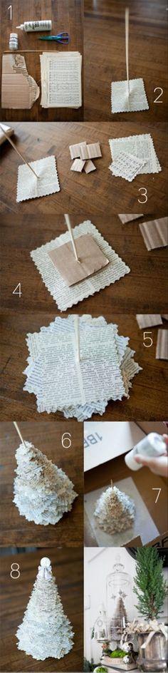 Un originale alberello di Natale realizzato con pagine di vecchi libri o spartiti. Semplice! Un'alternativa potrebbero essere le pagine di una rivista, per avere un alberello più variopinto.