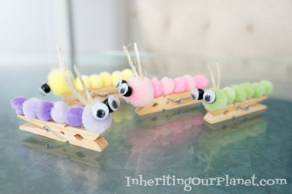 Caterpillar Clothespin Kids Craft #kidscraft