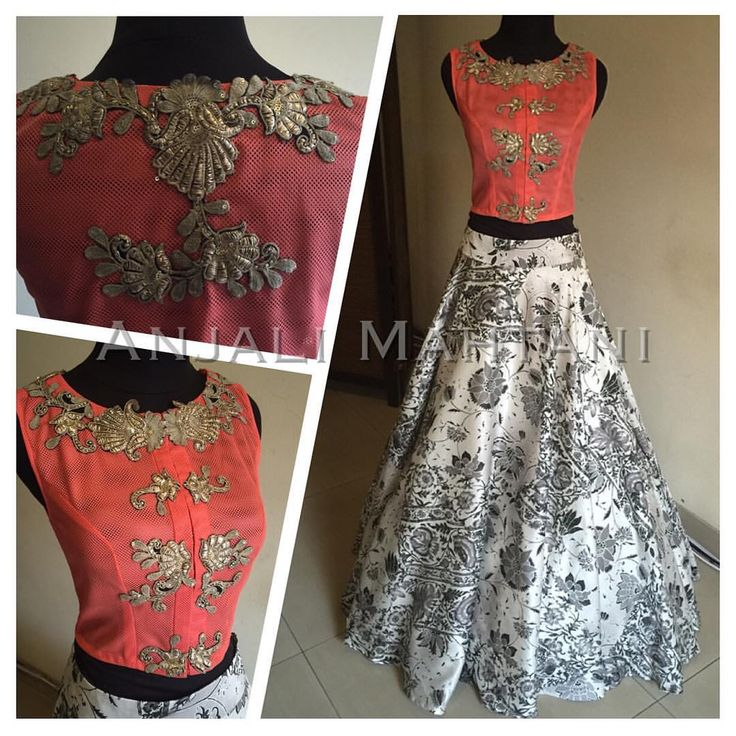 Mesh Vest cropped top with a monochrome printed skirt -classic look by Anjali Mahtani