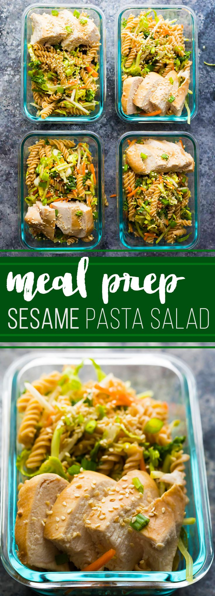 Spend 30 minutes doing some meal prep and you'll have FOUR Sesame Chicken Pasta Salads