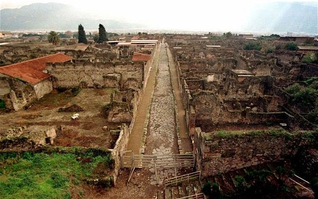 Pompeii: Life   and Death in a Roman Town. Here are some images of the town, which was   burried by a volcanic erruption in 79 AD.