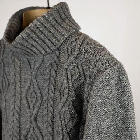 abitofcolor | Irish Fisherman's Knit Roll Neck Sweater - Inis Meain