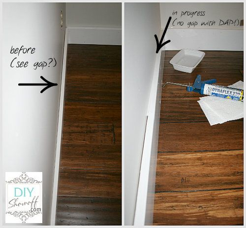 diy baseboard w/out corner cuts http://diyshowoff.com/2012/04/30/family-room-baseboard-diy-installation-and-caulking-tutorial/