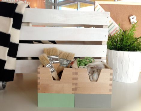 how cute is this - add casters to a standard wooden crate - and paint the little ikea storage cubes...amazing!
