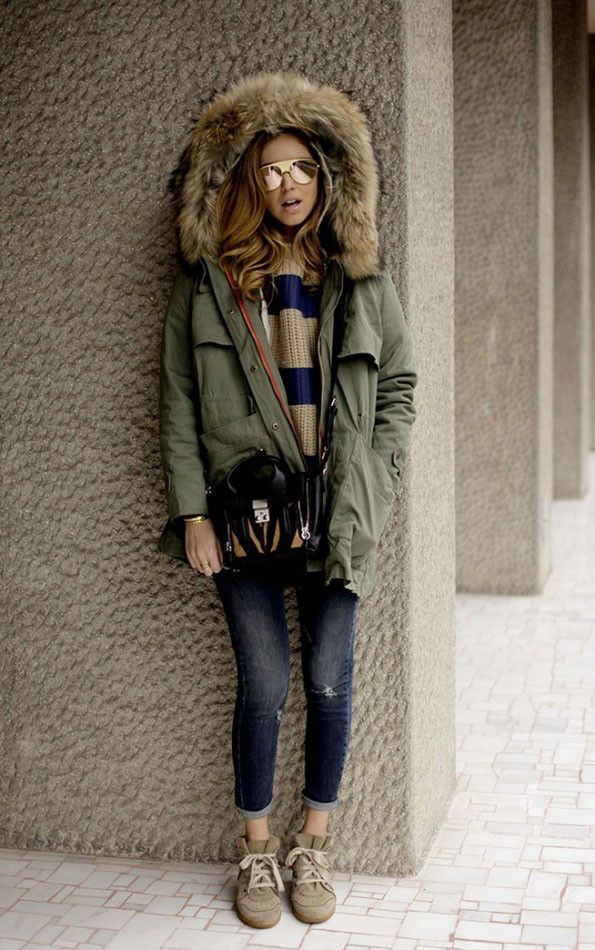 The Blonde Salad. 2013. Green fox fur parka, striped sweater, dark jeans, marant sneakers