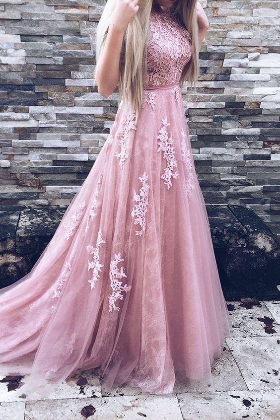 Prom dresses, pink party dresses, prom dresses with train,pink evening gowns with appliques, cheap prom dresses with lace