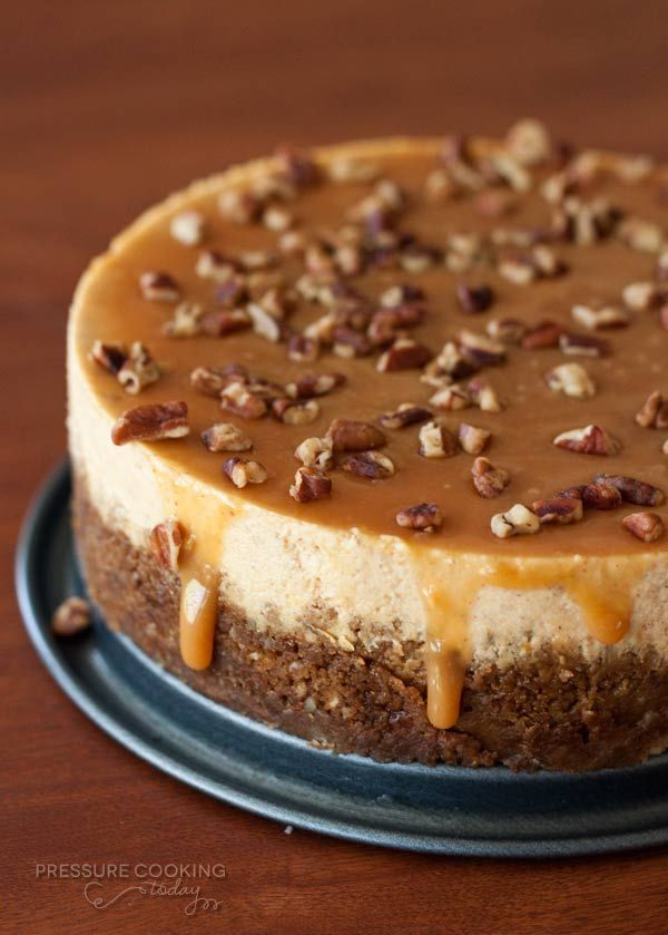 Pumpkin Caramel Pecan Cheesecake Recipe | Pressure Cooking Today