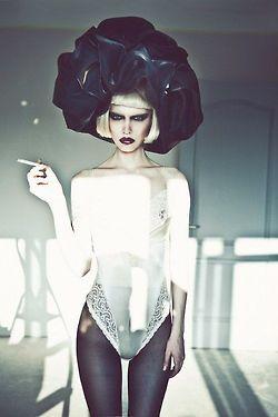 smoke dark Smoking blonde tights goth cigarette gothic haute couture couture…