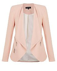 Pink Zip Waterfall Blazer | New Look
