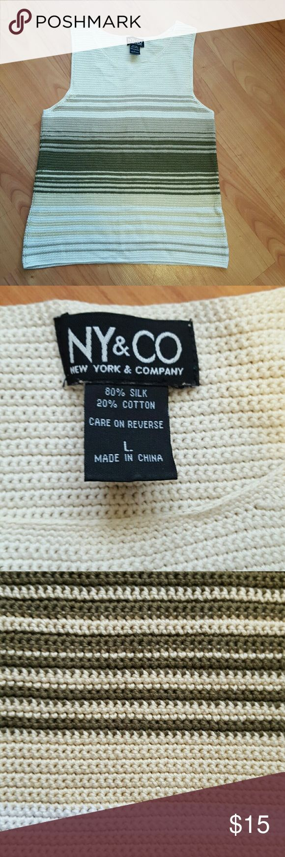 New York & Co sz large silk blend knitted tank top Very beautiful women's top.  Super soft.  Worn once, excellent condition New York & Company Tops Tank Tops