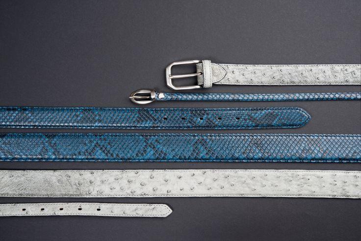 Buckles & Belts - Belt/Gürtel - New Autumn Collection 2016 - Pitone - Phyton & Ostrich leather - Struzzo - denim - blue - essenza - grey - Design in SWITZERLAND made in ITALY https://www.facebook.com/BucklesBelts