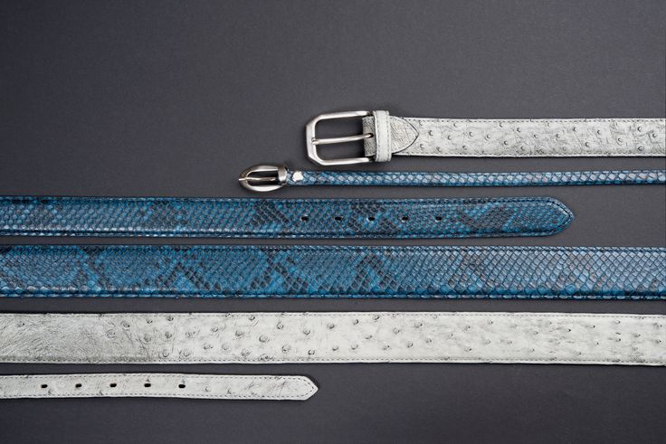 Buckles & Belts - Belt/Gürtel - New Autumn Collection 2016 - Pitone - Phyton & Ostrich leather - Struzzo - denim - blue - essenza - grey - Design in SWITZERLAND made in ITALY https://www.facebook.com/BucklesBelts