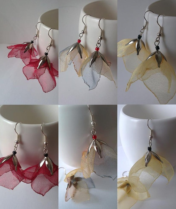 Organza Earrings by SHAREurColours on Etsy, £7.00