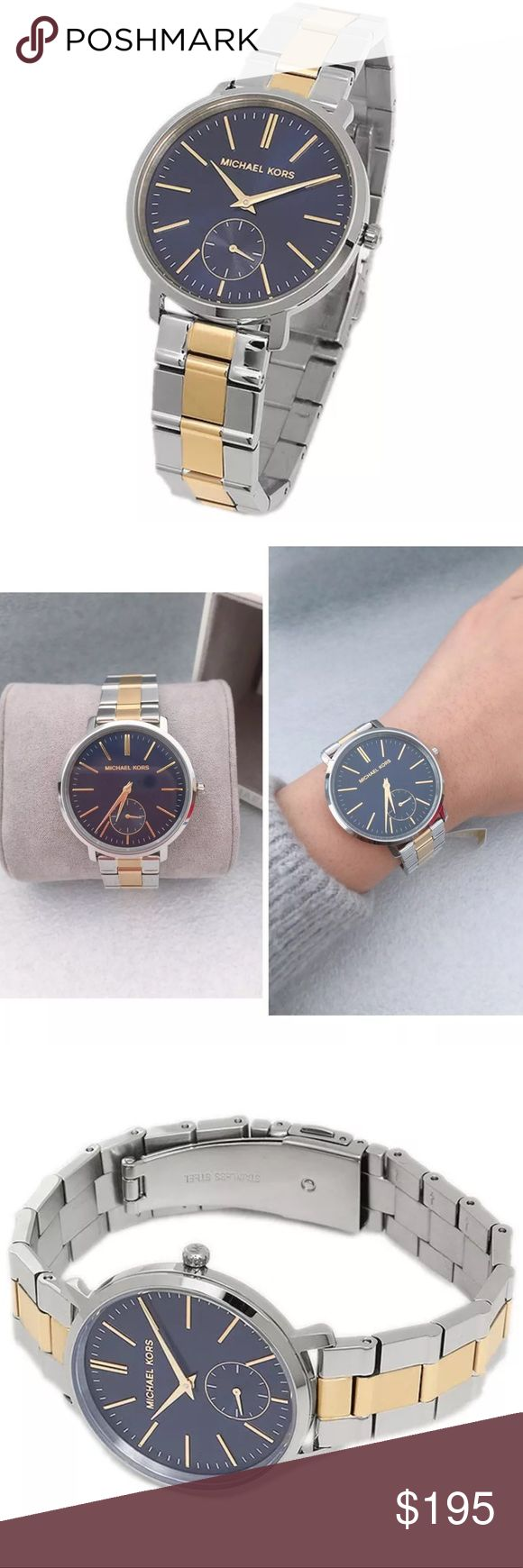 Michael Kors silver gold blue face watch Authentic. Brand new with $250 tags. Comes in original Michael Kors designer watch box with pillow, price tag, and authenticity/warranty booklet. Beautiful silver, gold with blue face stainless steel watch. Goes great with silver or gold jewelry because it is two tone. Michael Kors silver gold blue face watch. Michael Kors Accessories Watches